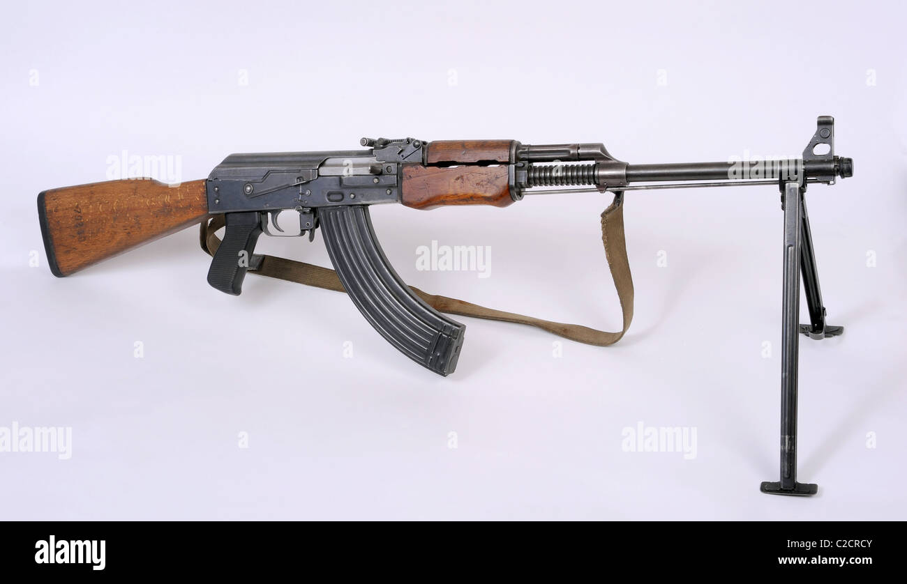 A Yugoslavian Serbian RPK type light squad machine gun model M72B1. This gun is based on the Russian Soviet RPK - Stock Image