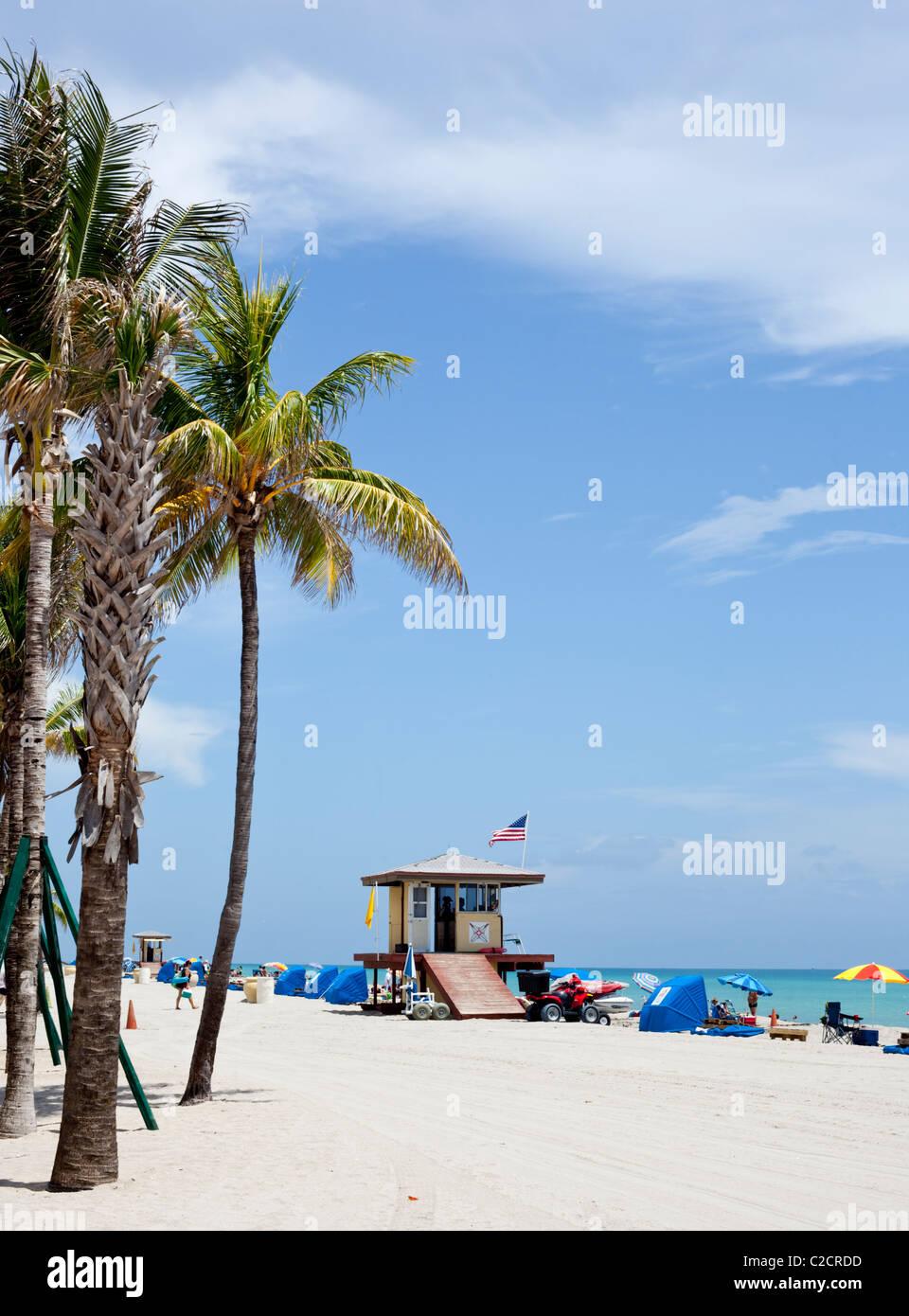 lifeguard watchtower, Miami Beach, Florida, USA. - Stock Image