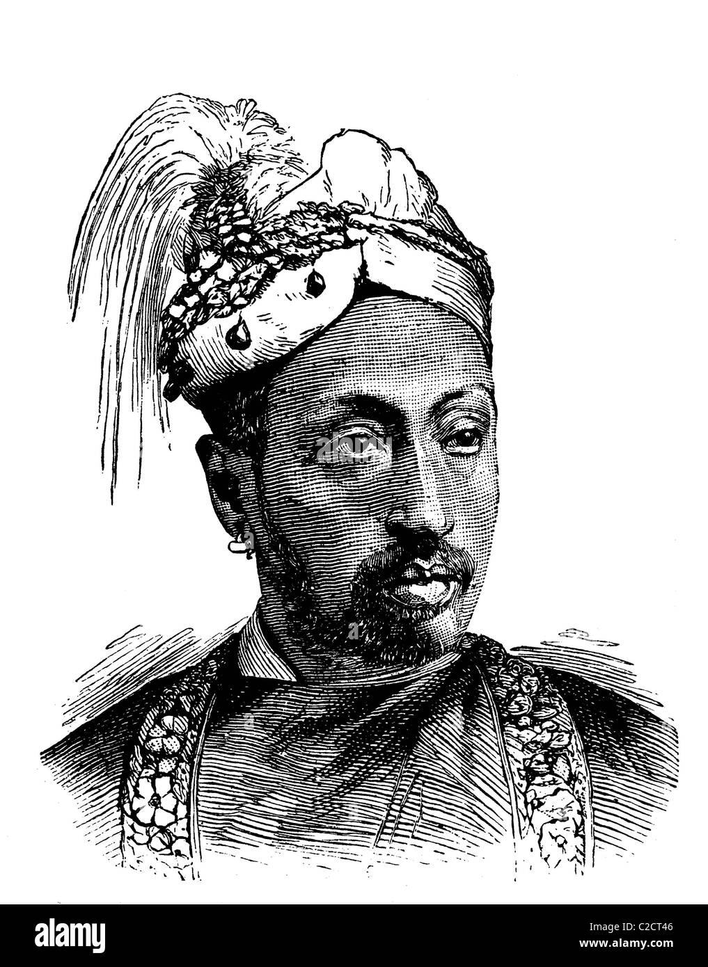 Sir Rama Varma, Maharaja of Travancore, historical illustration, 1884 Stock Photo