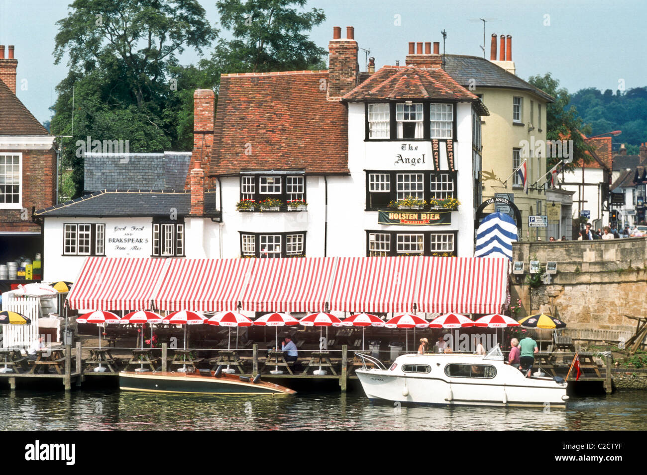 The Angel Inn at Henley on Thames during regatta week River Thames Oxfordshire England UK Europe - Stock Image