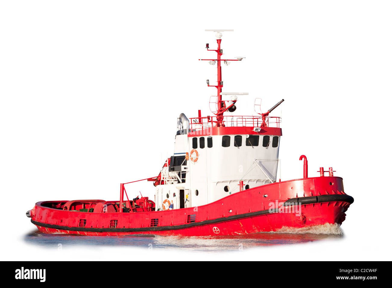 Tug Boat Cut Out Stock Images Pictures Alamy Tugboat Wiring Diagram An Isolated Equipped With Saftey Equipment Image