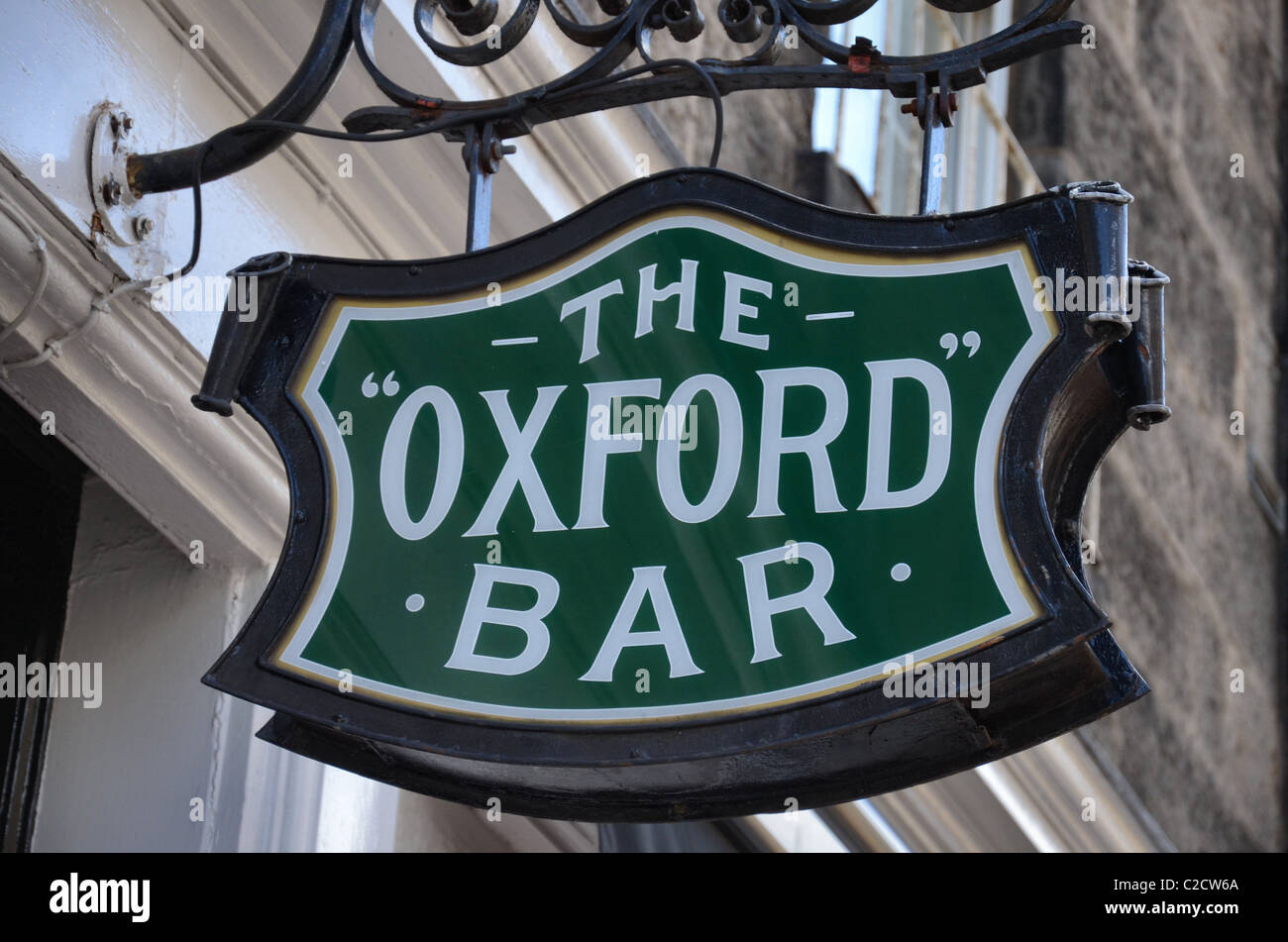 Sign outside the Oxford Bar in Young Street, the watering hole of Ian Rankin's fictional Inspector Rebus. - Stock Image