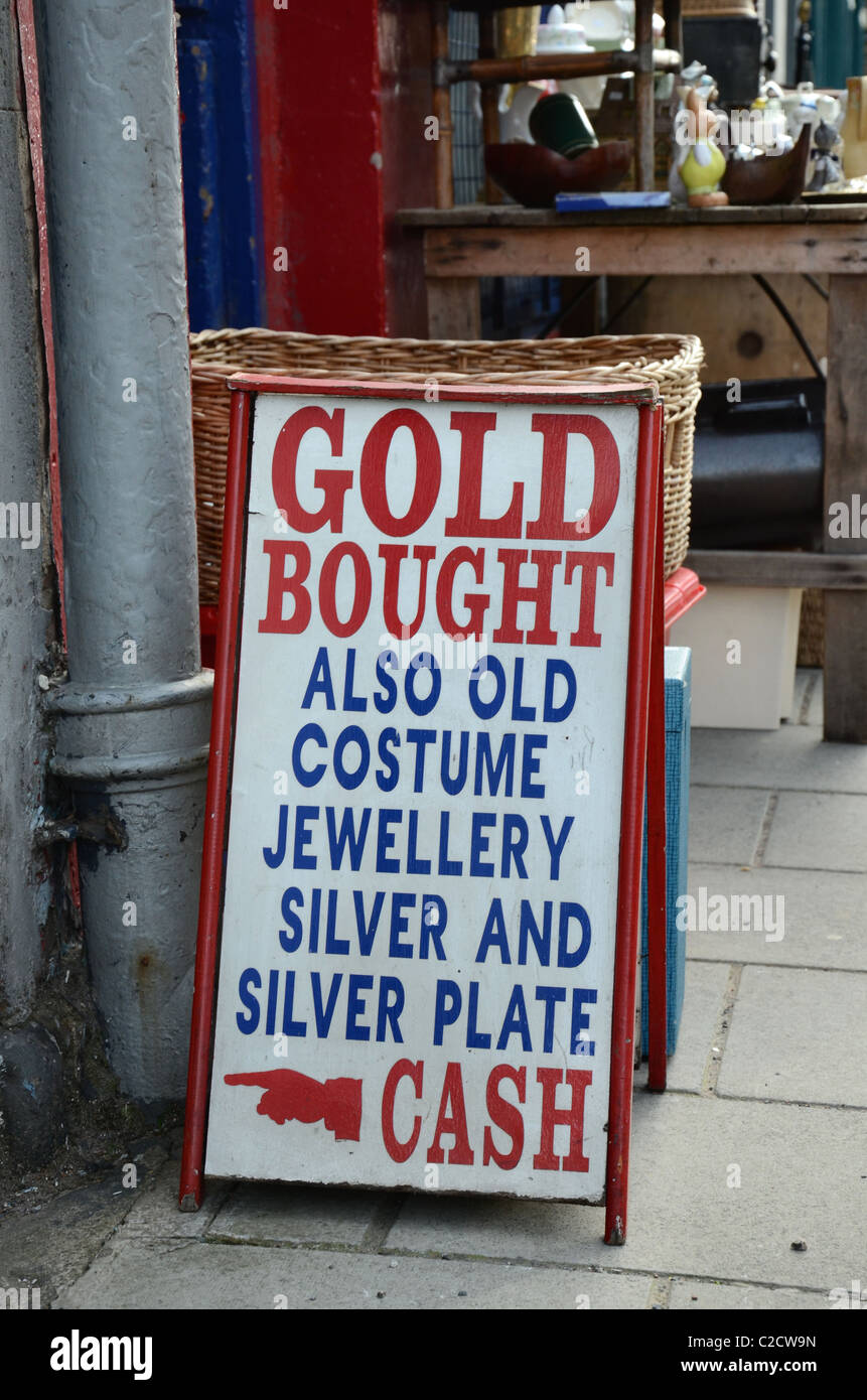 Hand painted sign outside an antique shop in Edinburgh, Scotland, UK. - Stock Image