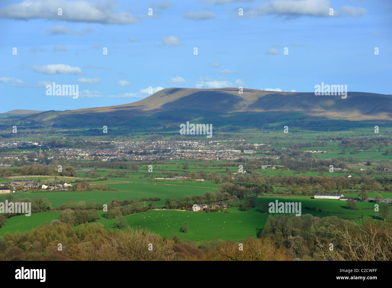 Pendle Hill above Clitheroe from Kemple End on Longridge Fell - Stock Image