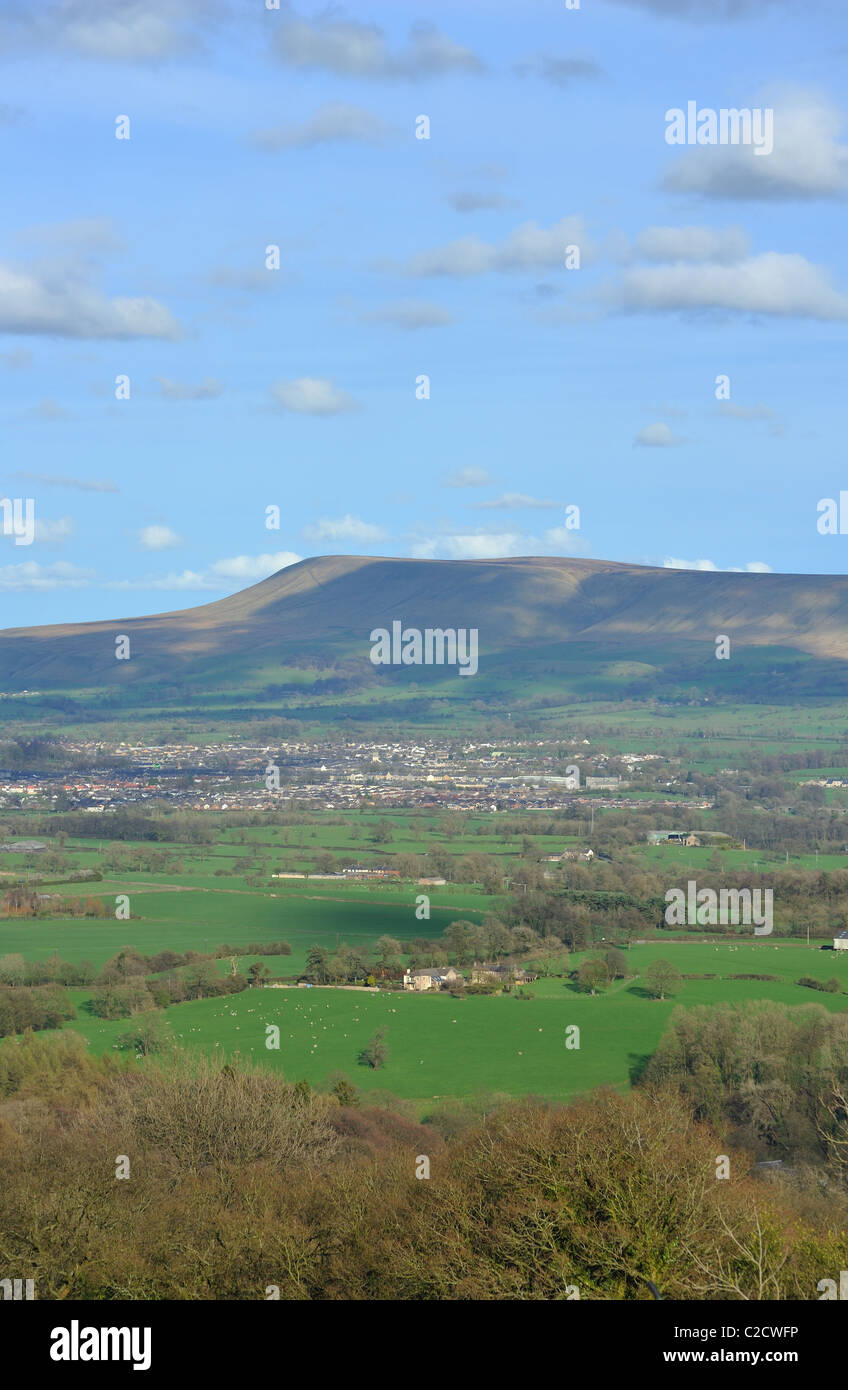 Clitheroe under Pendle Hill from Kemple End on Longridge Fell - Stock Image
