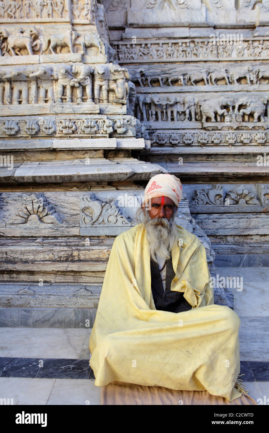 Beggar at the Jain temple in Udaipur, India - Stock Image
