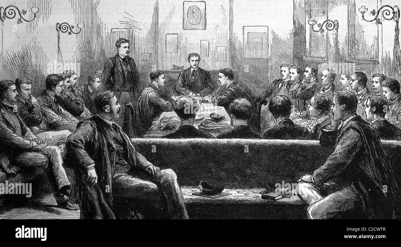 'The ''Magpie and Stump'' debating society, Trinity College, Cambridge, England, historic image, - Stock Image