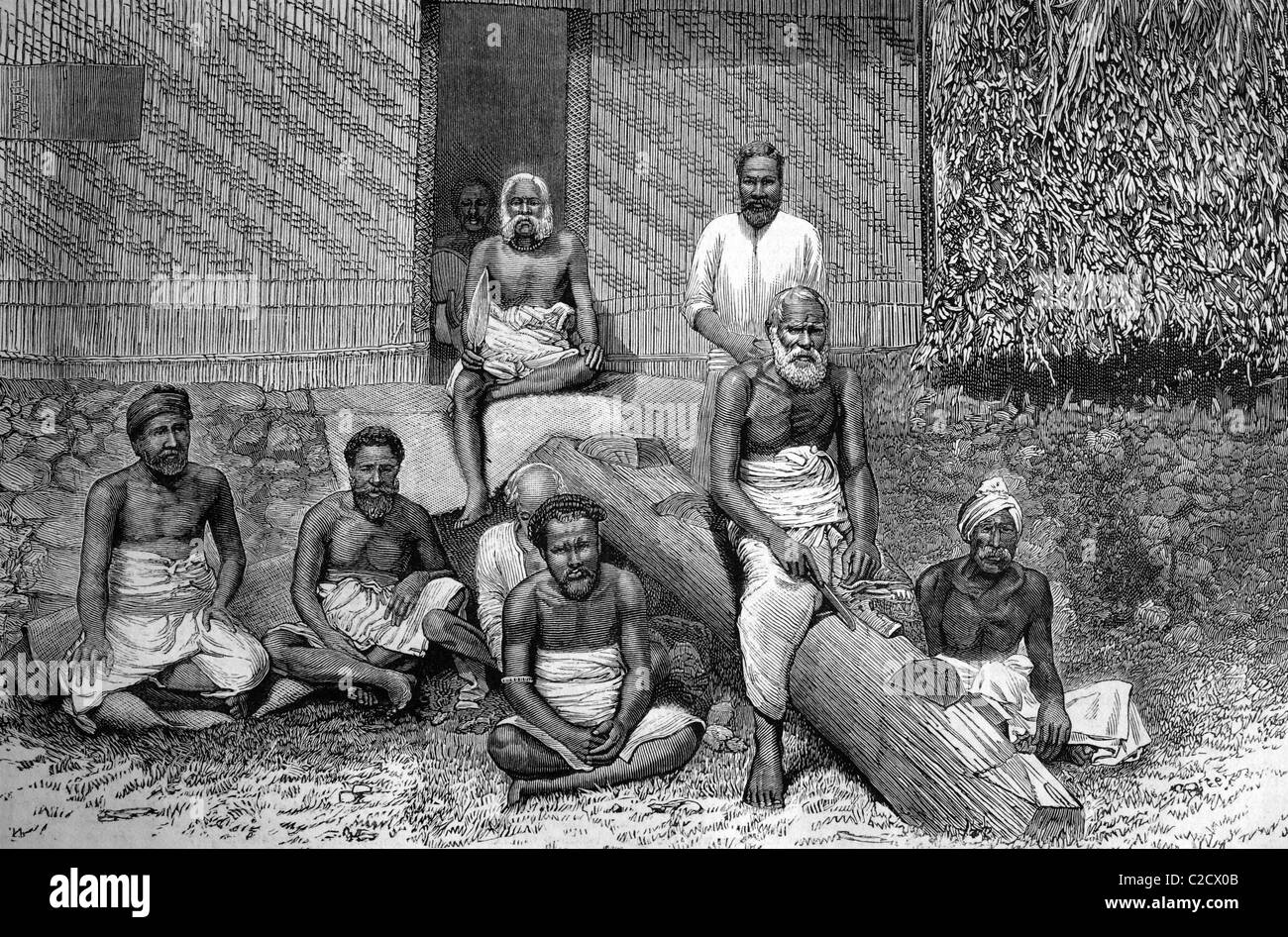 The late ex-king Cacobau of Fiji and his suite, historic image, 1883 - Stock Image