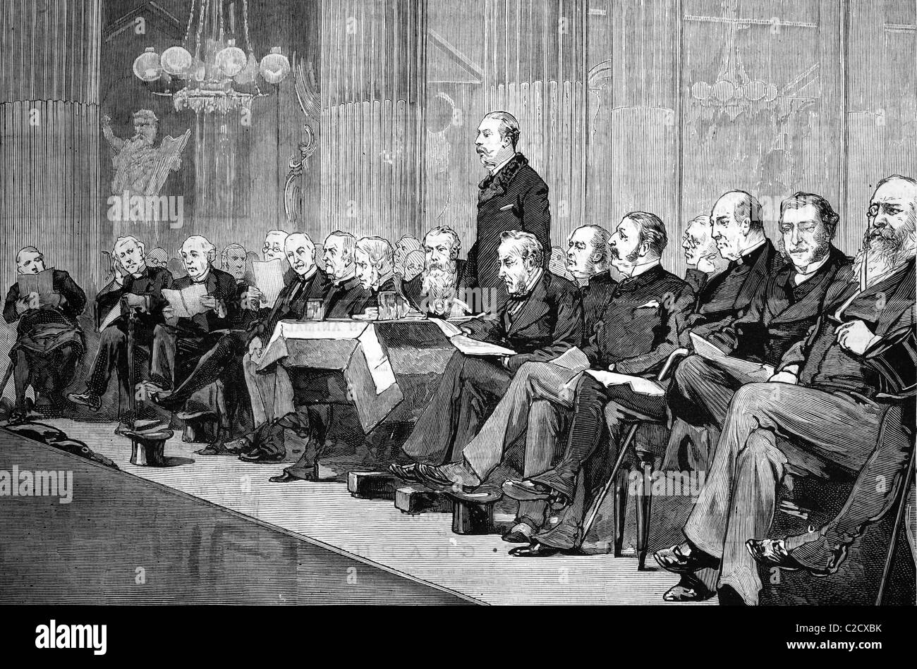 The proposed memorial to the late archbishop Tait, the Duke of Albany addressing the meeting at the Mansion House, - Stock Image