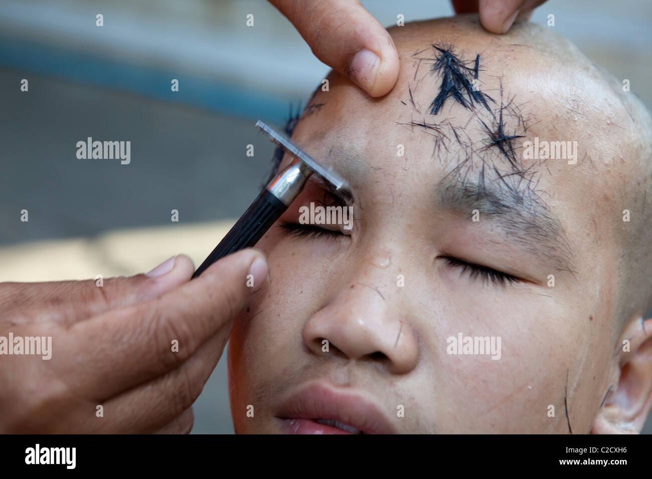 The Little Monk Saving Hair Its Follow Buddhas Teaching Stock