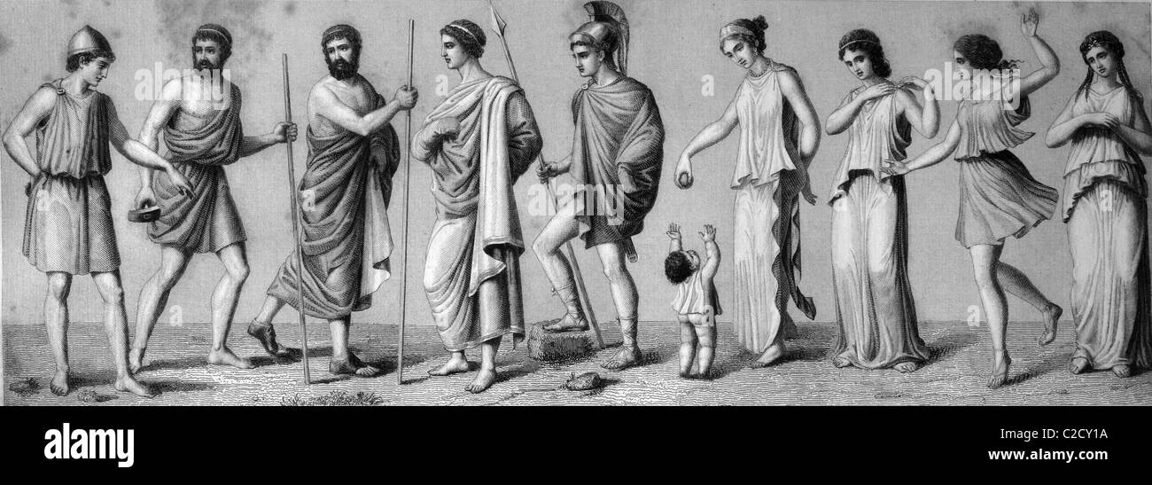 Greek costumes: from left, 1. chiton 2. exomis 3./4. himation 5. chlamys 6. children's dress 7./8. women's - Stock Image