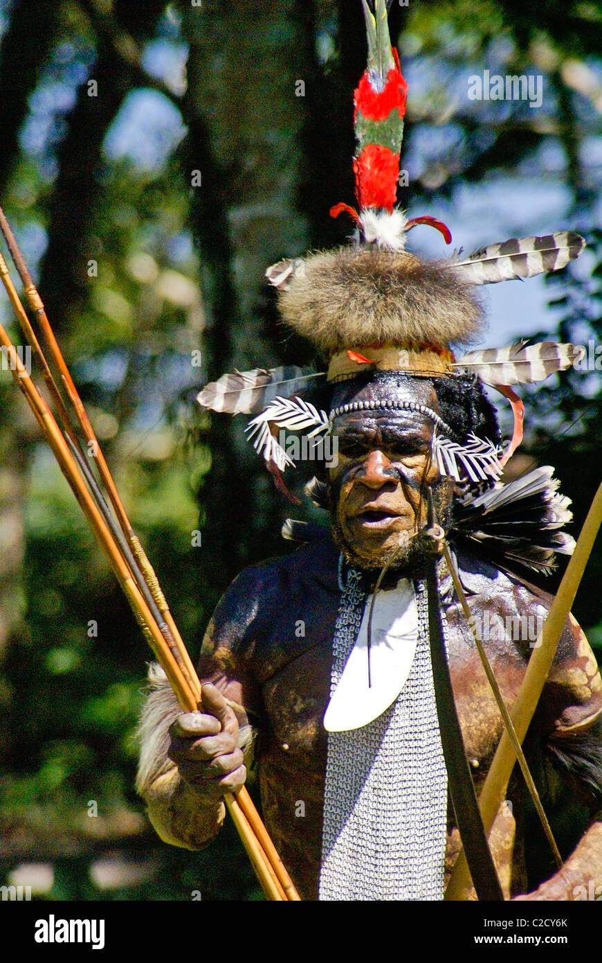 Chief Yali of the Dani tribe, Baliem Valley, Papua, Indonesia - Stock Image