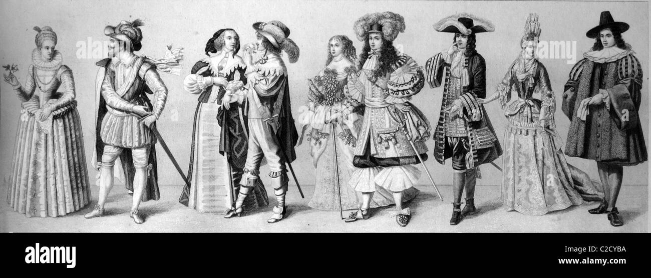 Cultural history, from left: two Dutch costumes from 1610, French fashion in 1670, Louis XIV and his wife in 1670, - Stock Image