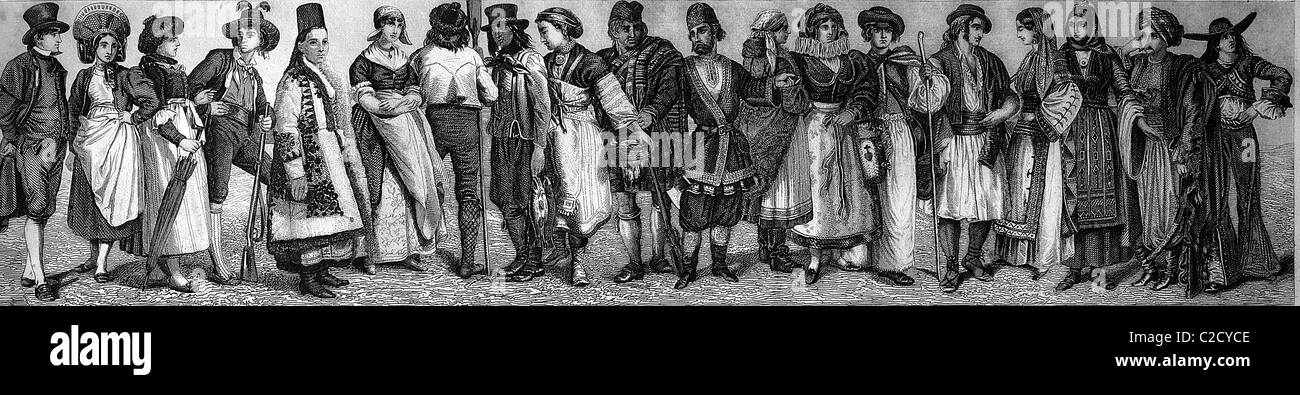 Folk dress in the Middle Ages, historical illustration - Stock Image