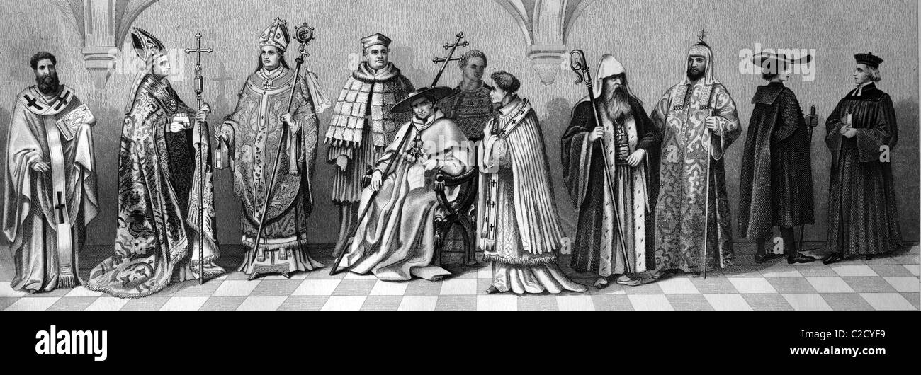Cultural history of religion, from left: priest of old Byzantium, bishop in a pluvial, bishop in vestment, provost, - Stock Image