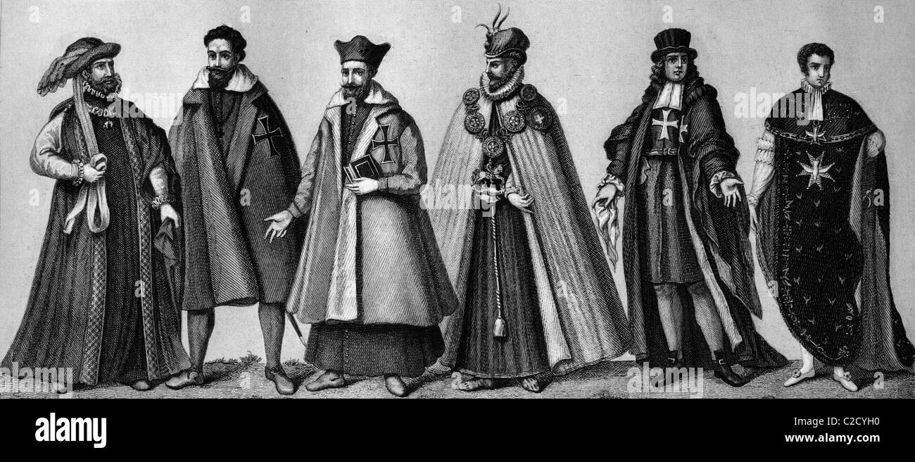 Cultural history of the orders, from left: habit of the Golden Fleece, secular, cleric German Teutonic Knights, - Stock Image