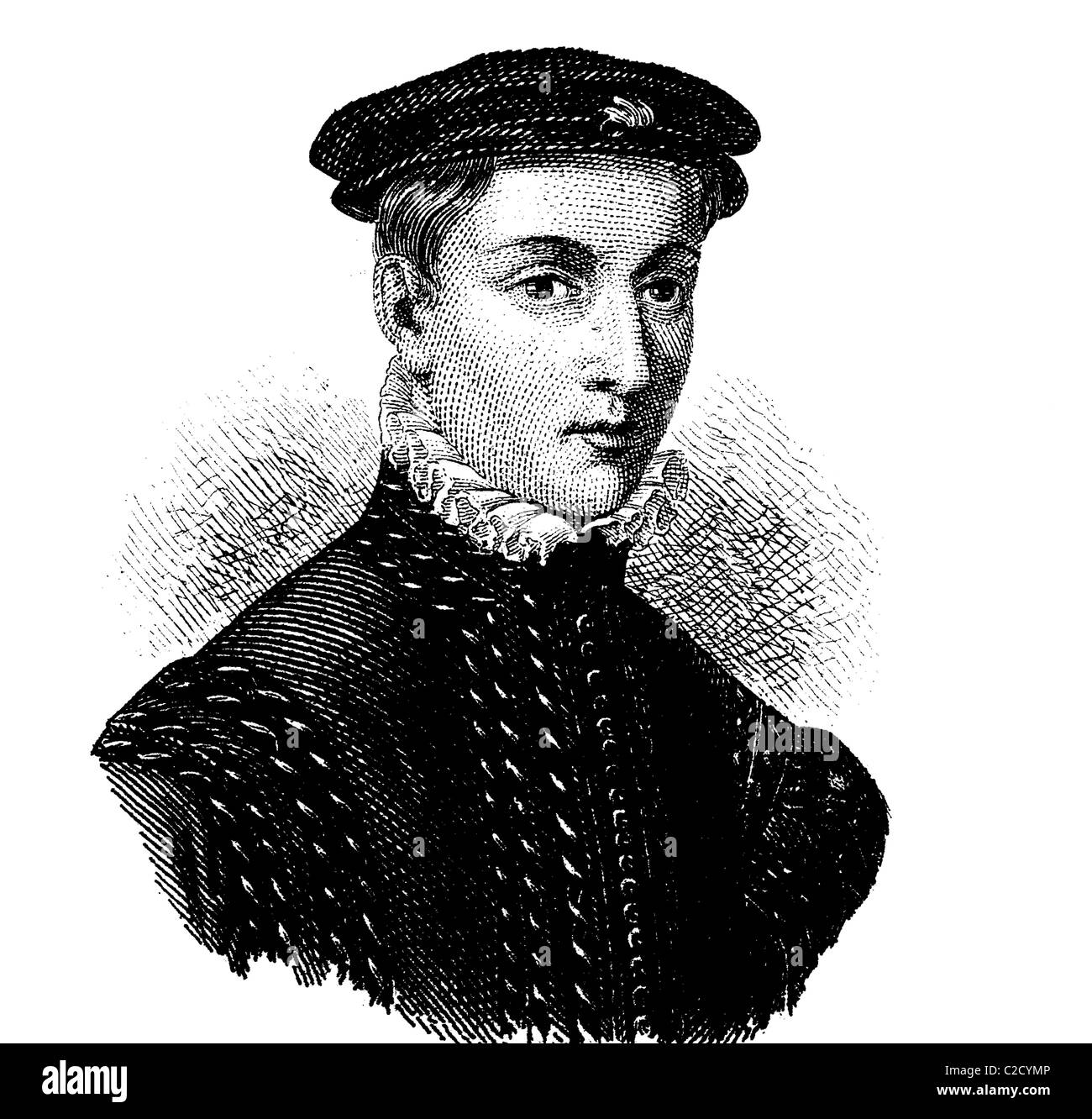 Fashion in the Middle Ages: ruff and cap, 1560, historical illustration - Stock Image