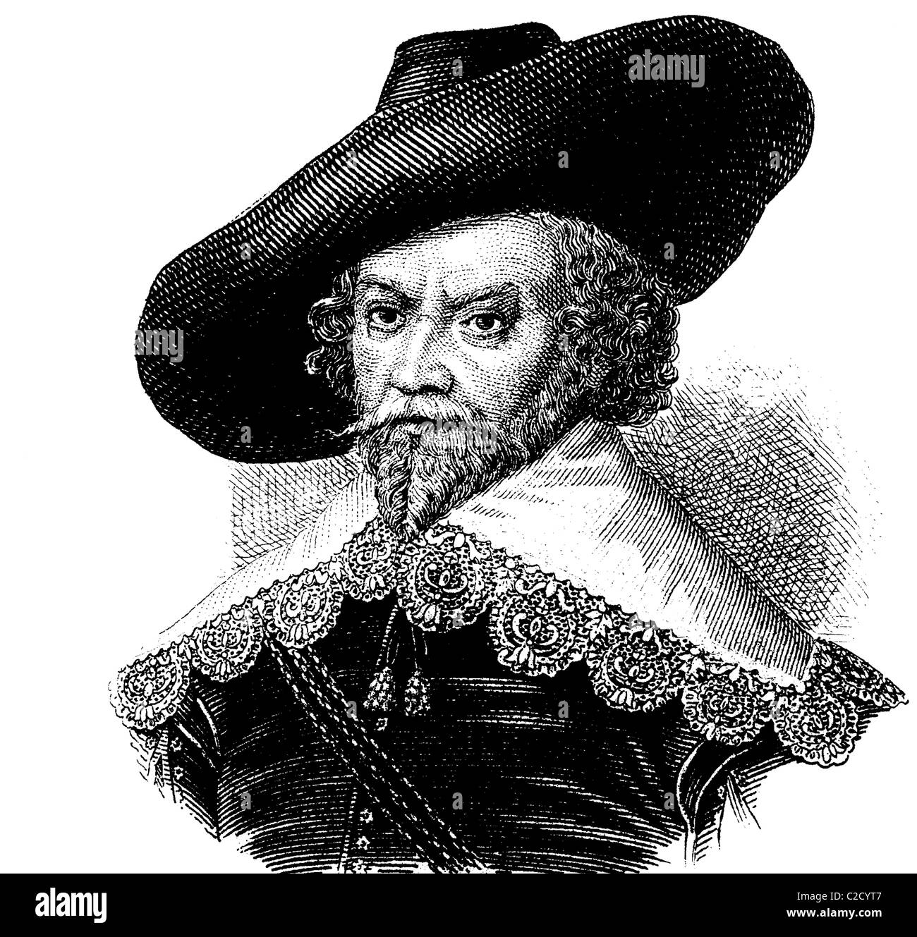 Fashion in the Middle Ages: collar and hat, about 1630, historical illustration - Stock Image