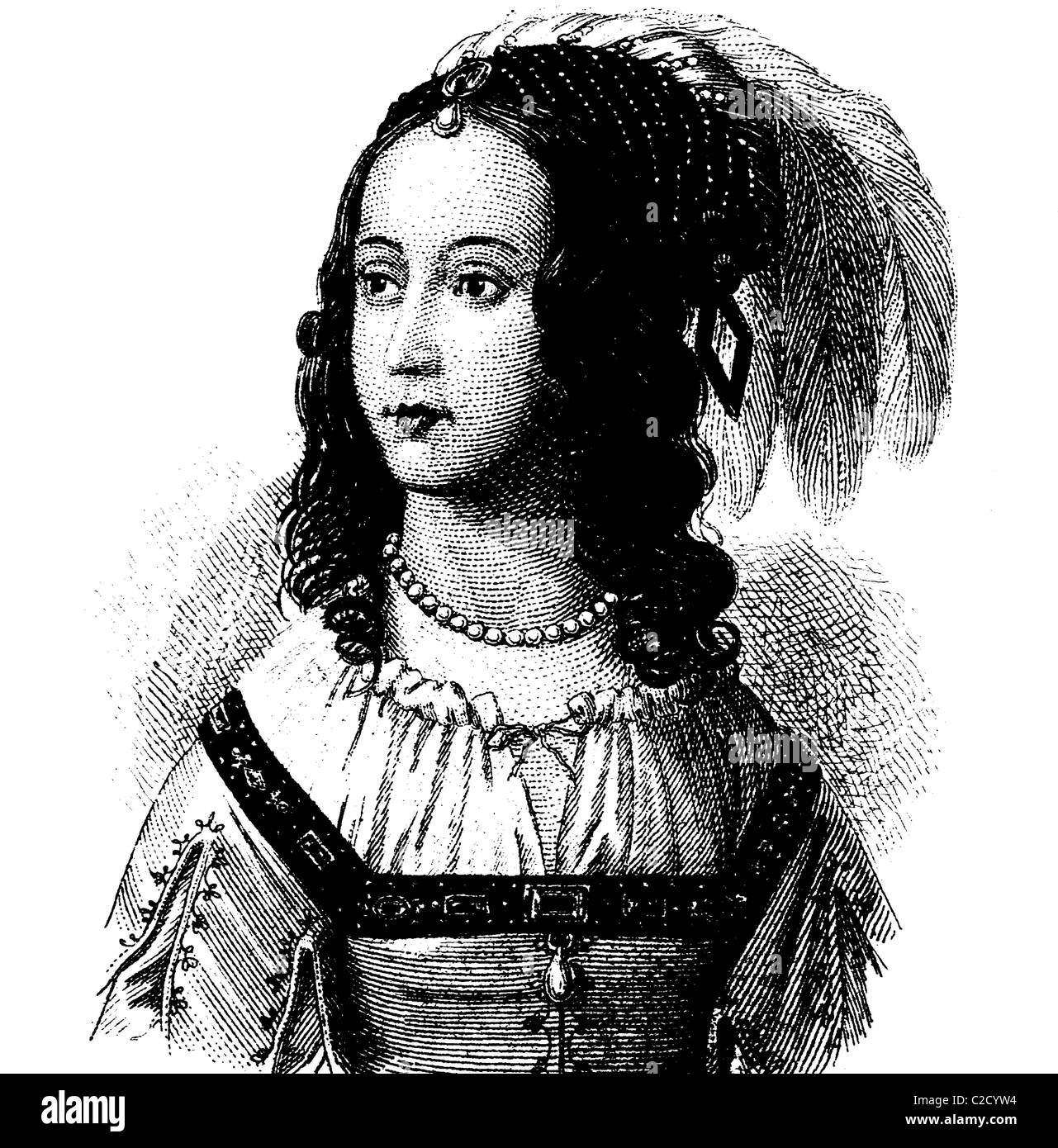 Fashion in the Middle Ages: collar and headdress, in 1630, historical illustration - Stock Image