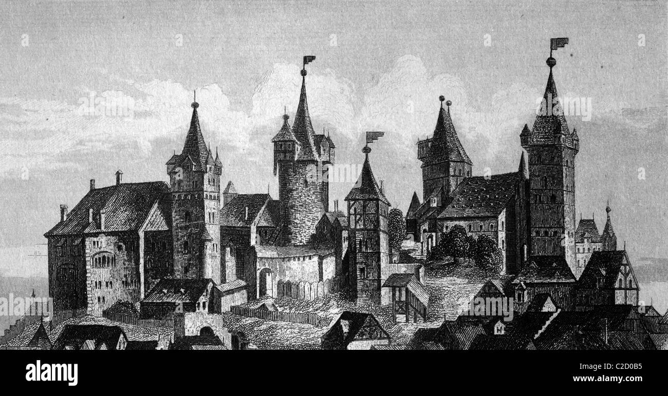 Castle of Nuremberg, Bavaria, Germany, view from the 15th Century, historical illustration - Stock Image
