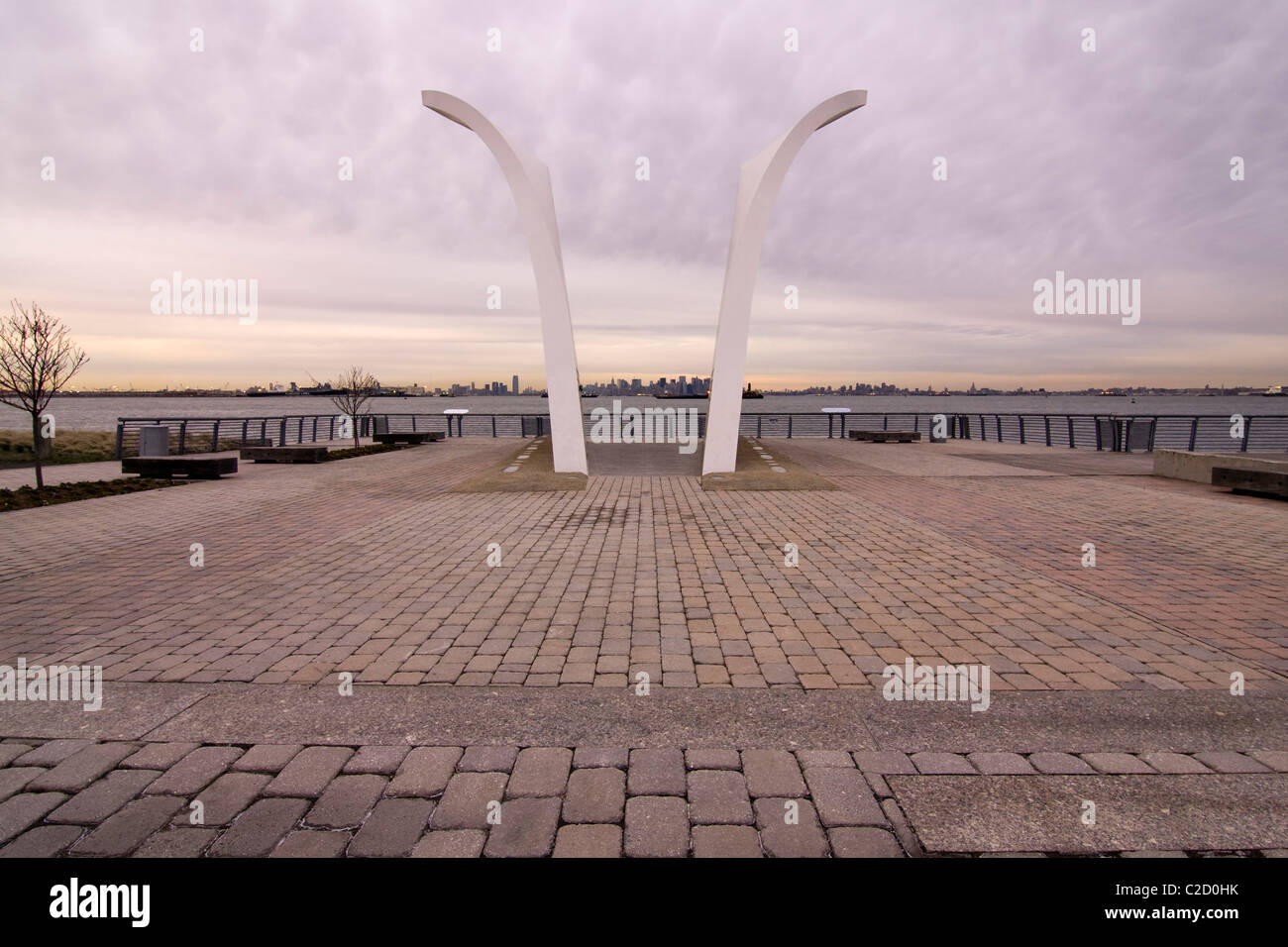 Sept 11th Memorial called 'Postcards' on Staten Island in New York City looking East towards the World Trade - Stock Image