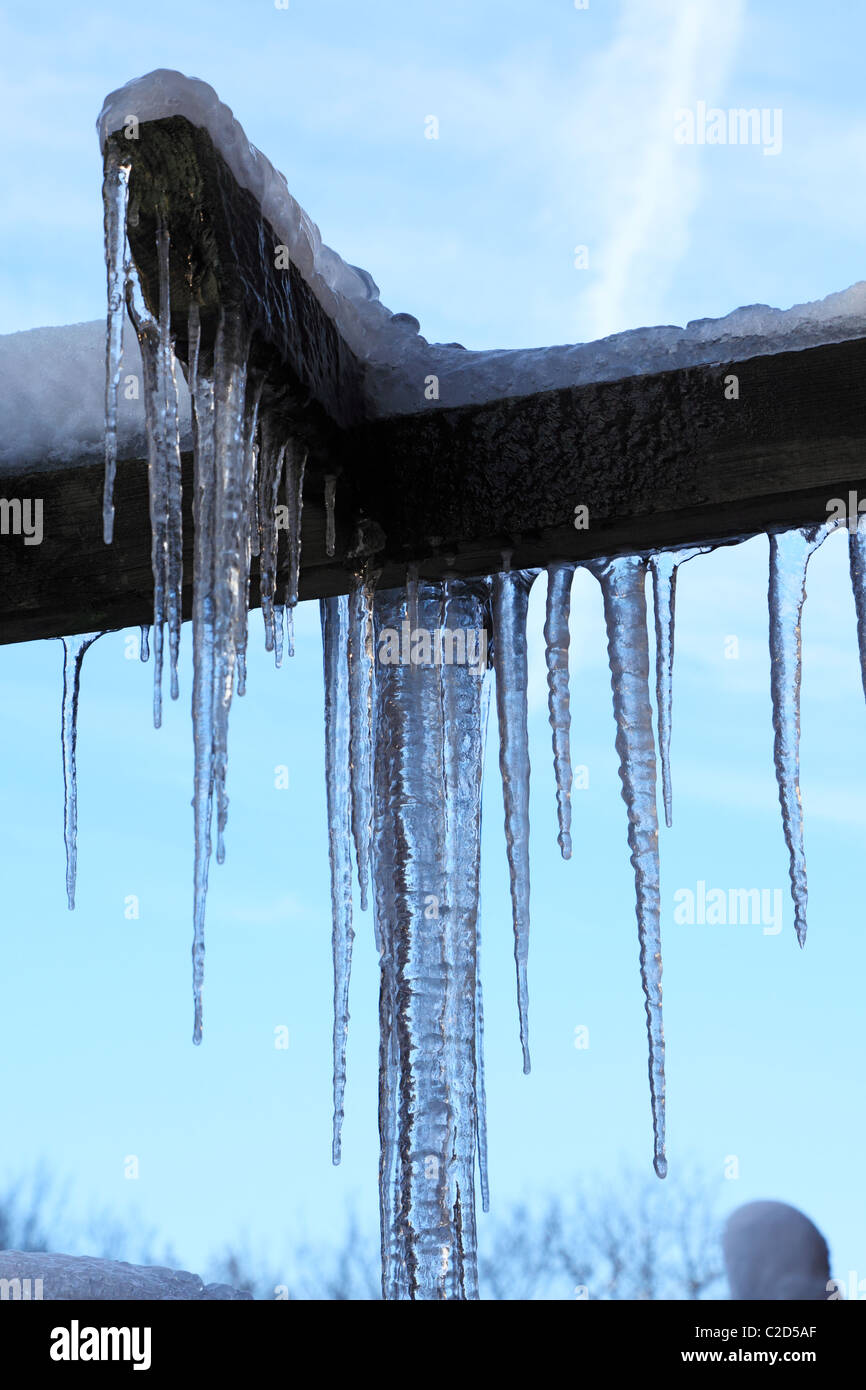 weather, severe winter, coldness, ice, icicles, accident risk, D-Oberhausen, D-Oberhausen-Sterkrade, Lower Rhine, - Stock Image