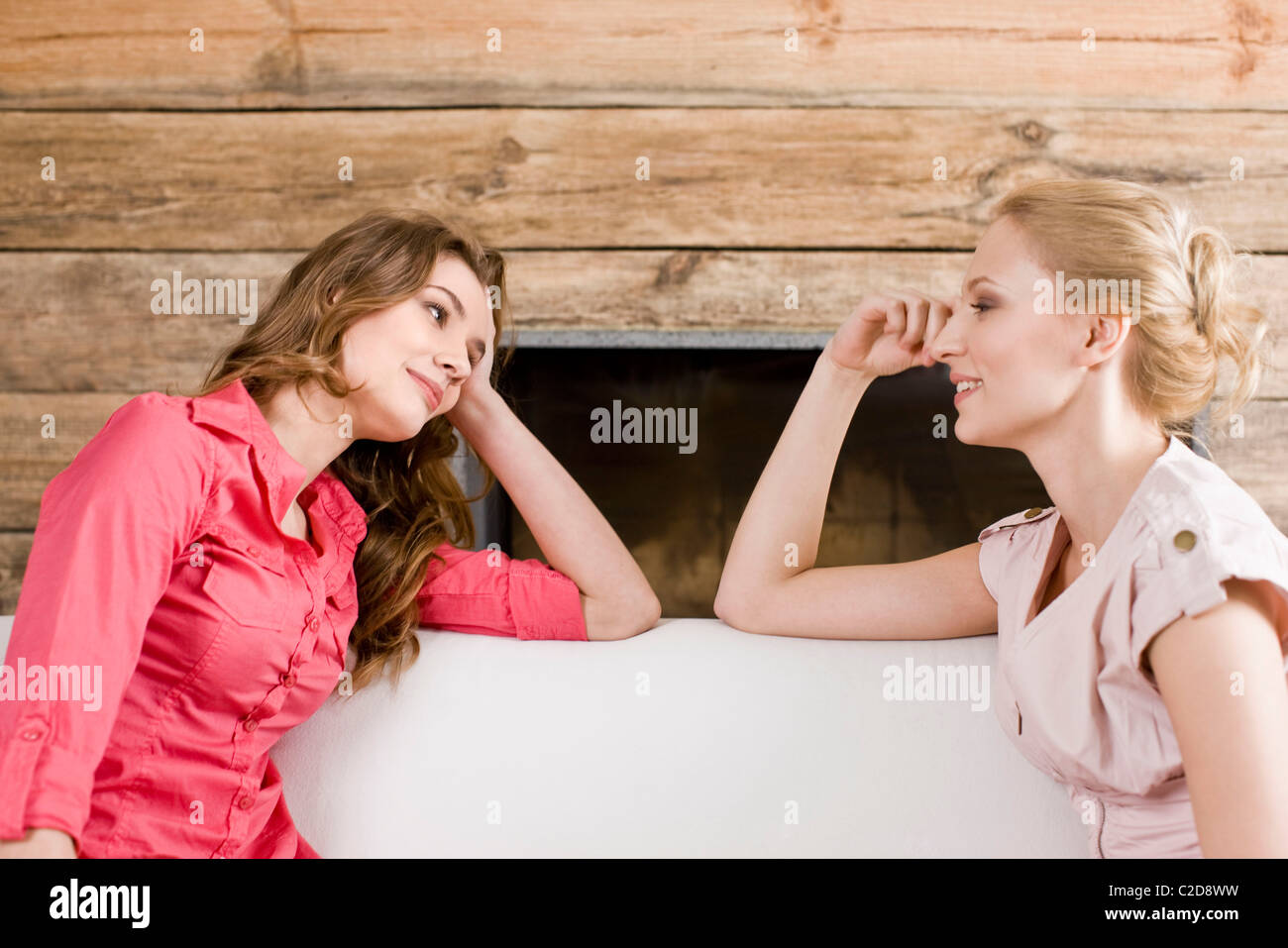 Two women having conversation - Stock Image