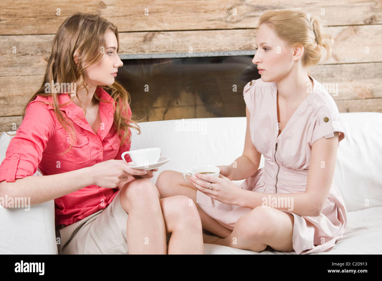 Women having coffee at home - Stock Image