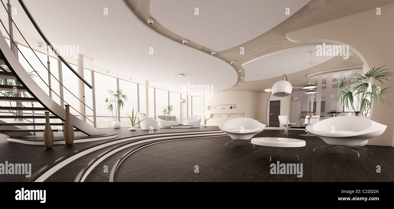 Interior of modern house living room kitchen hall panorama 3d render