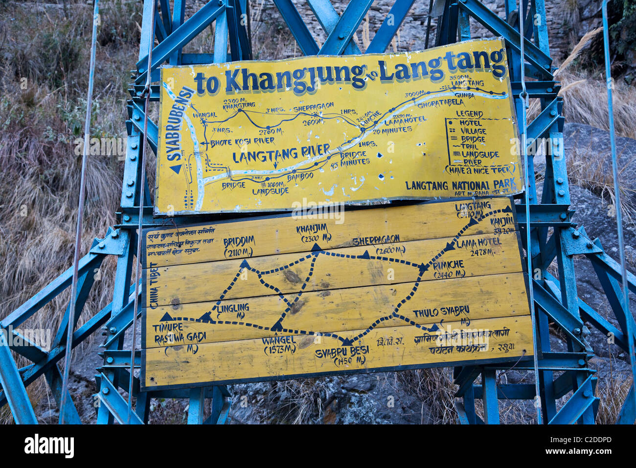 Indication for the Langtang trekking. Himalayan Nepal. Asia - Stock Image