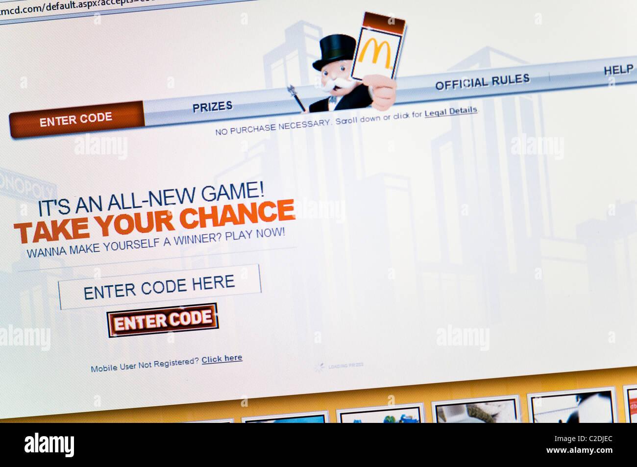 Monopoly website screenshot - Stock Image