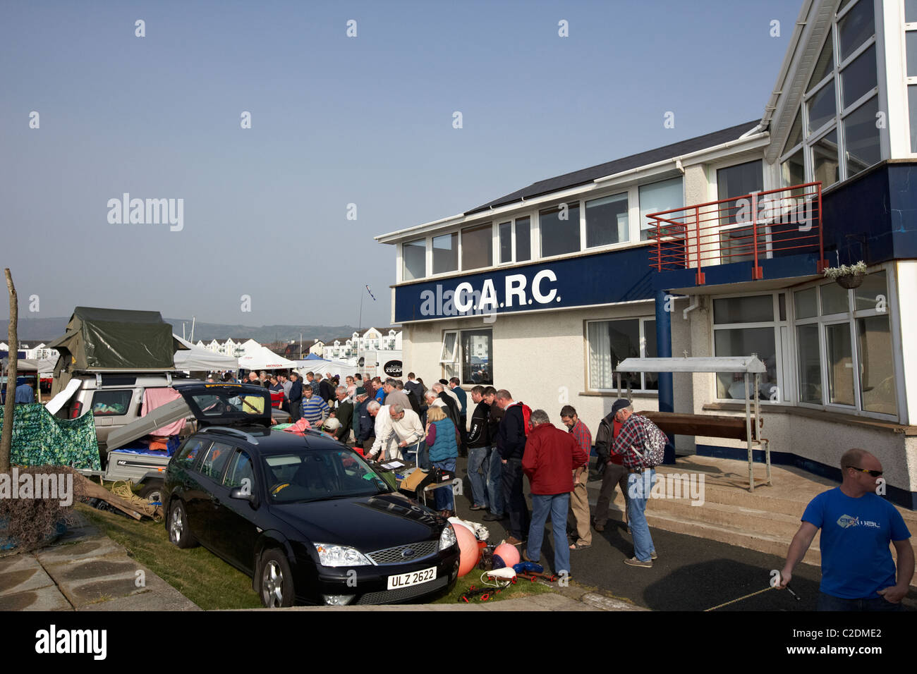 irish boat jumble sale and clubhouse carrickfergus sailing club county antrim uk - Stock Image