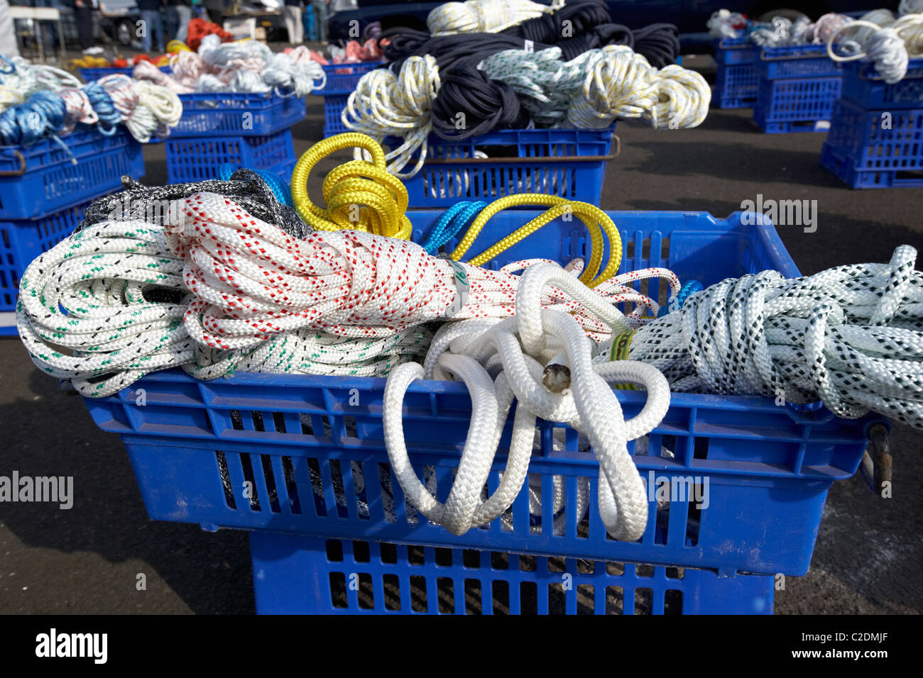 crates of mixed ropes for sale at boat jumble sale in the uk - Stock Image