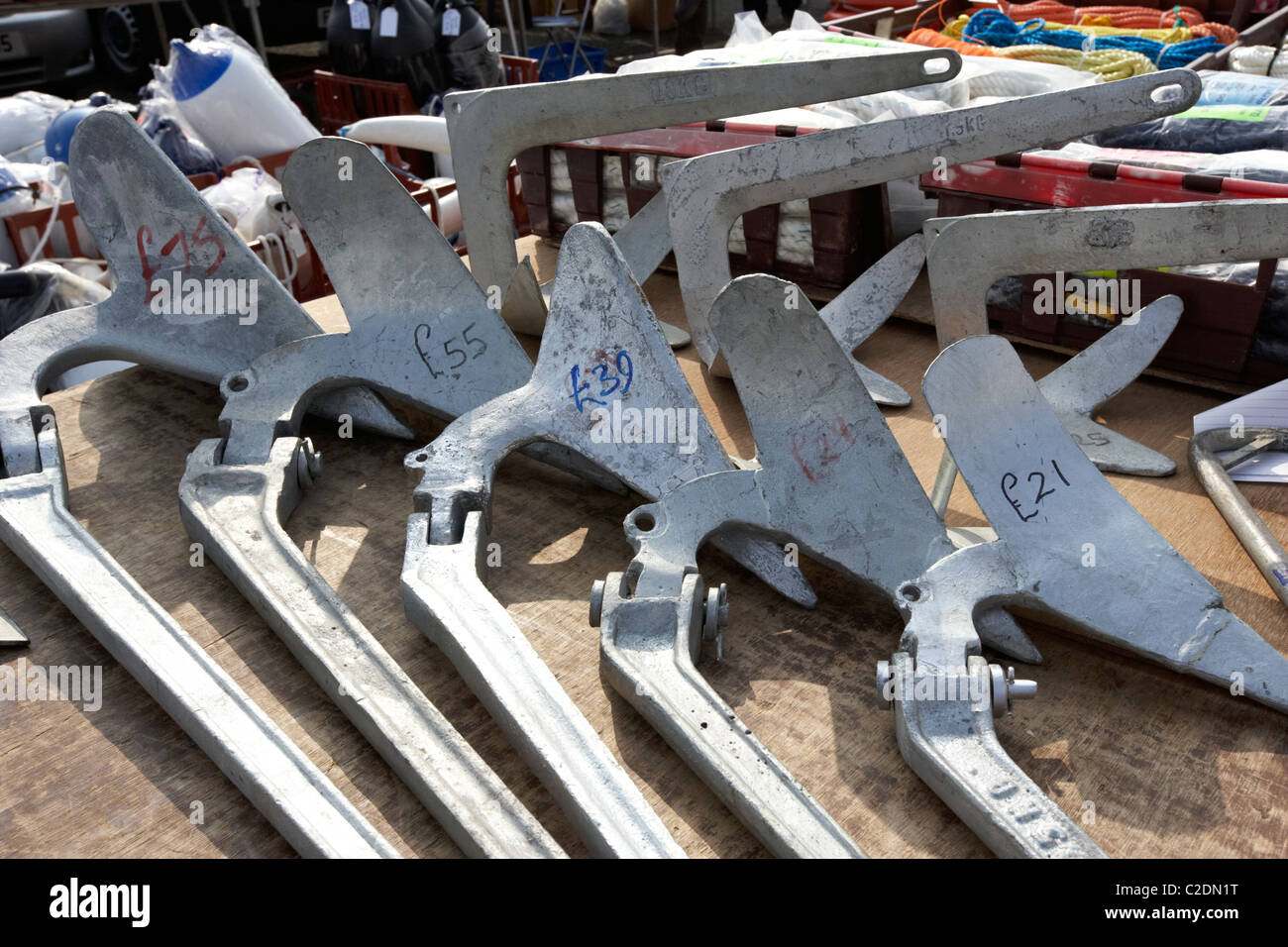 Boat Anchors For Sale >> Row Of Various Weight Plow Plough Anchors For Sale At Boat Jumble