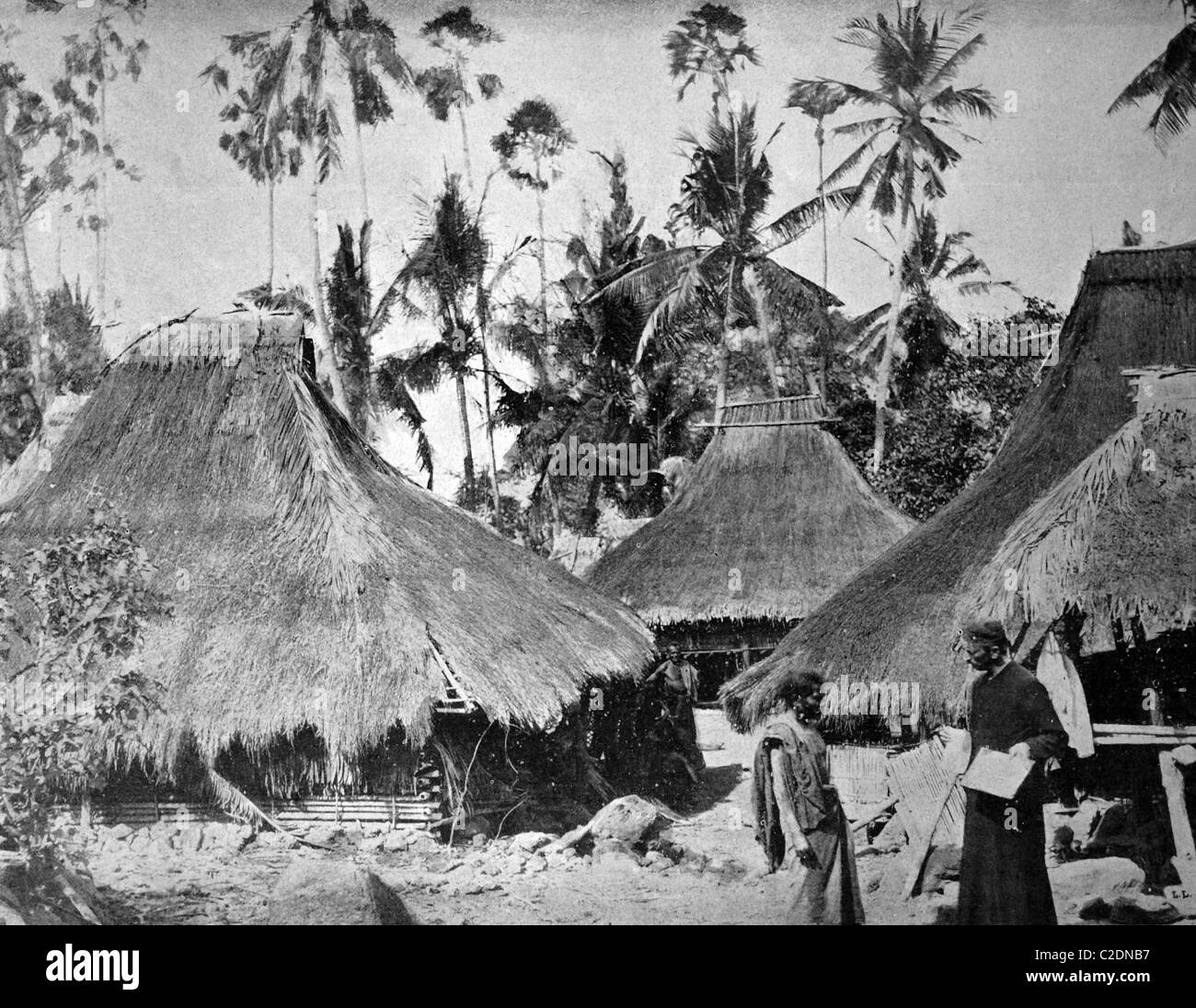 One of the first autotypes of the village of Lewolere, Ile de Flores, Oceania, historical photograph, 1884 - Stock Image