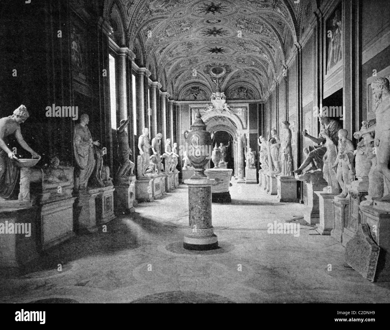 One of the first autotypes of the Vatican Museum, Rome, historical photograph, 1884 - Stock Image
