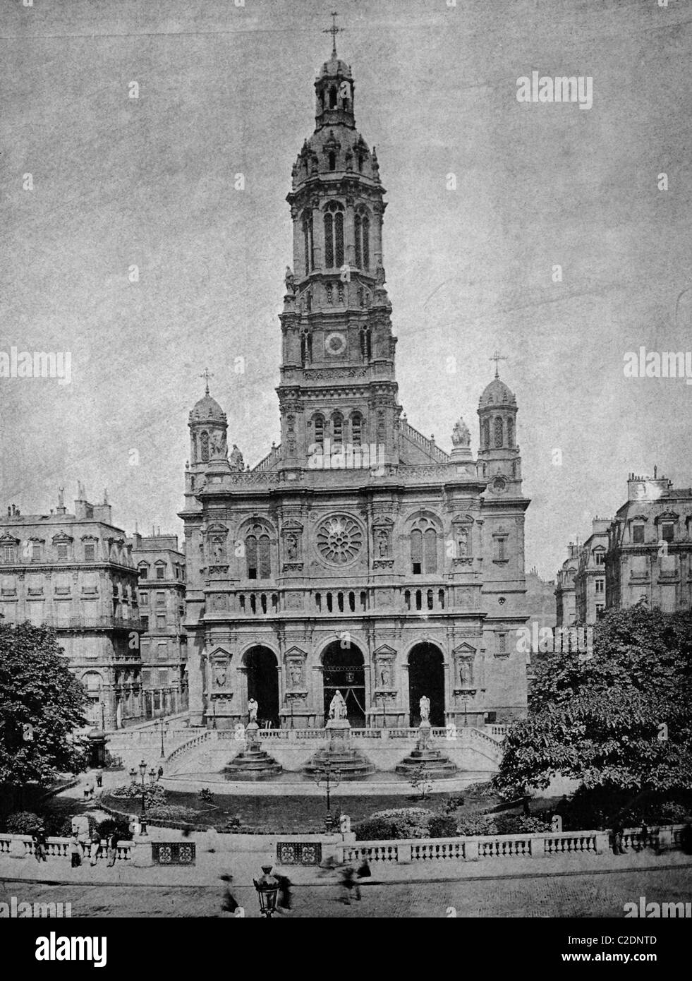 One of the first autotypes of the church Eglise de la Trinite, Paris, France, historical photograph, 1884 Stock Photo