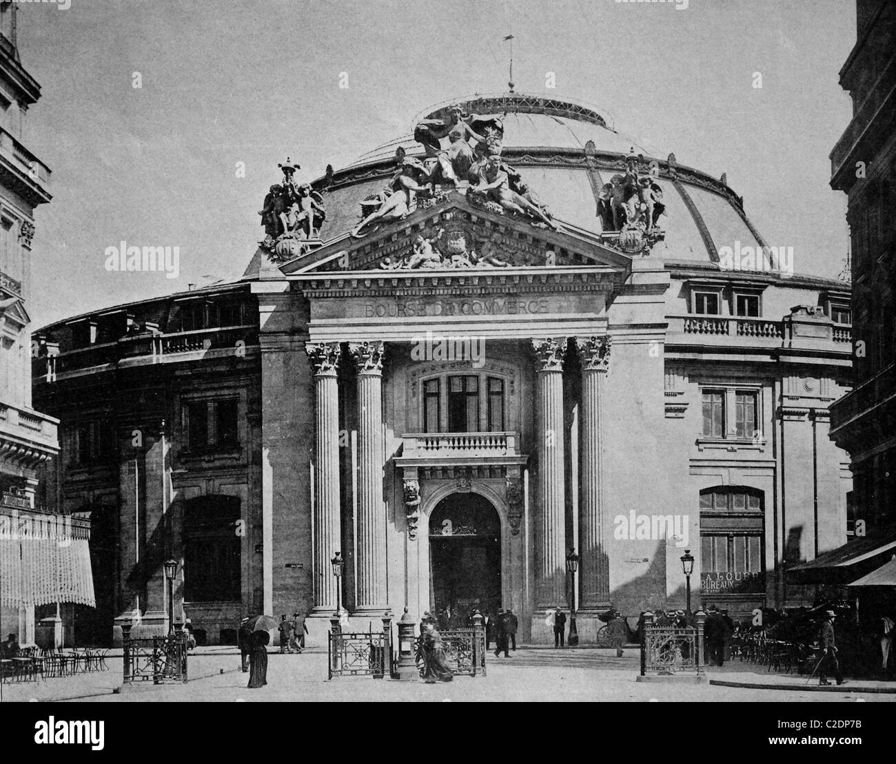 One of the first autotypes of La Bourse du Commerce, Paris, France, historical photograph, 1884 - Stock Image