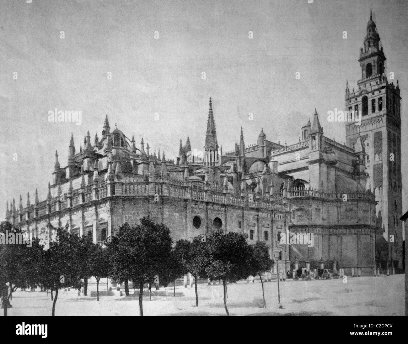 One of the first autotypes of the Cathedral of Seville, historical photograph, 1884 - Stock Image