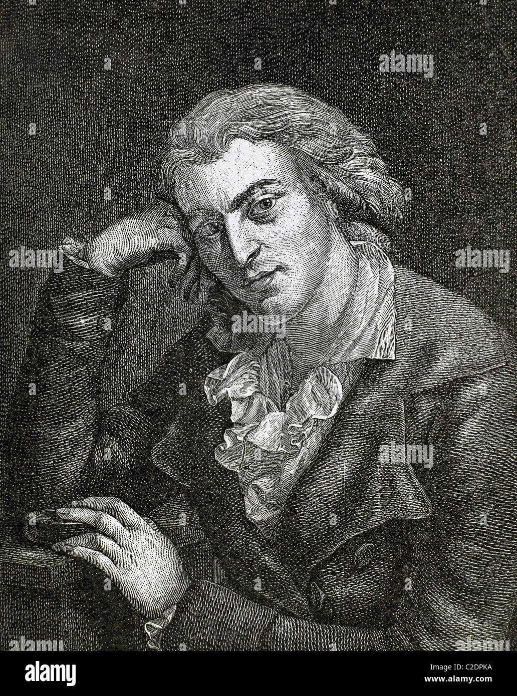 SCHILLER, Johann Christoph Friedrich von (Marbach 1759-Weimar, 1805). German writer. Colored engraving. - Stock Image
