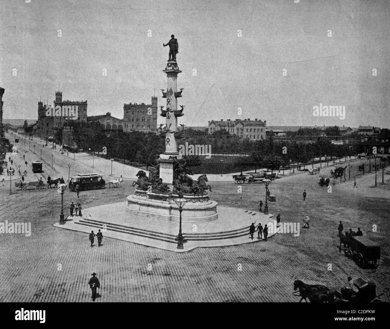 One of the first autotype prints, Praterstern roundabout, historic photograph, 1884, Vienna, Austria, Europe - Stock Image