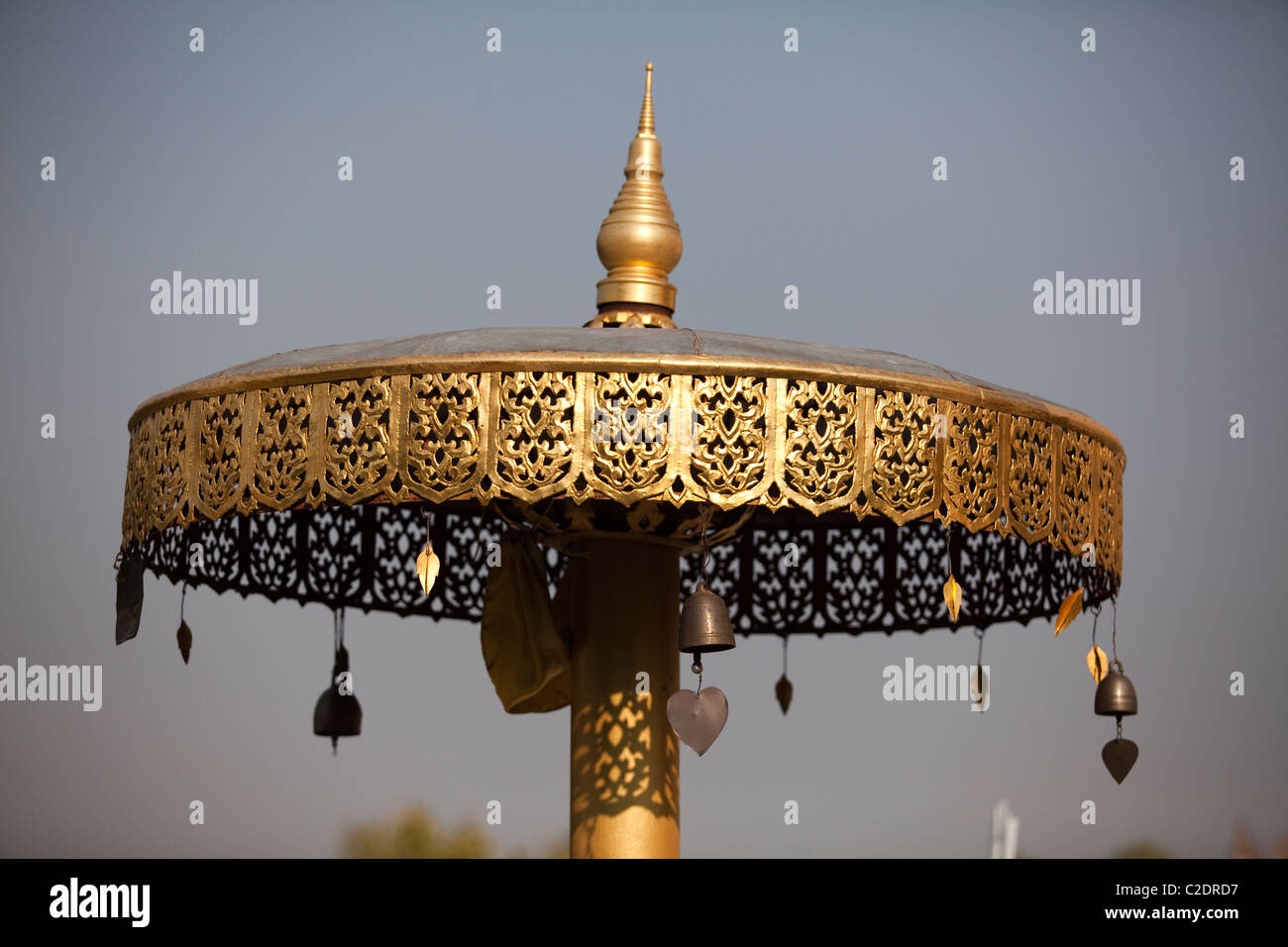 Detail of Chat in temple, It`s northern Thailand style architecture. - Stock Image