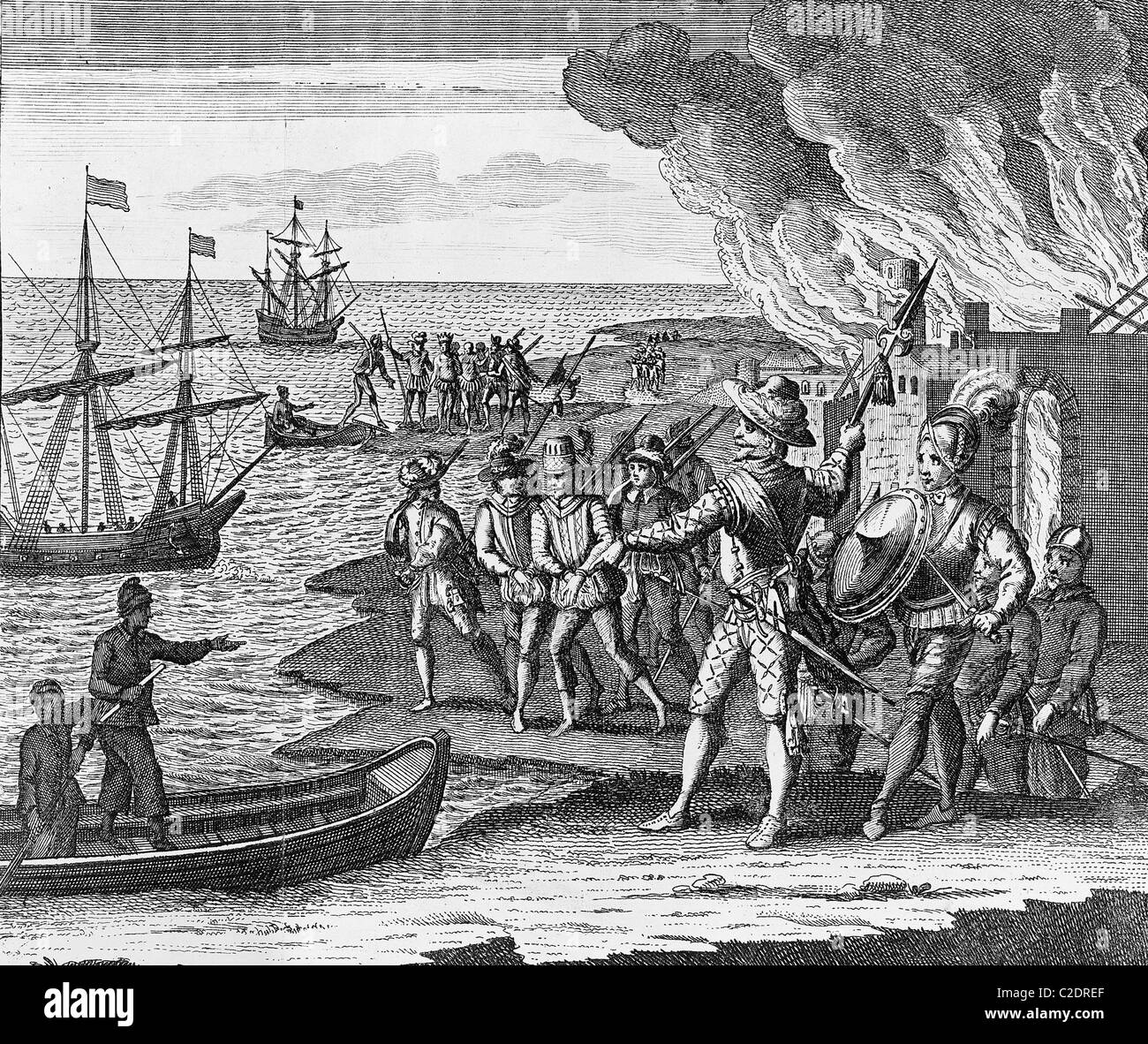 Sir Walter Raleigh's conquest of Trinidad - Stock Image
