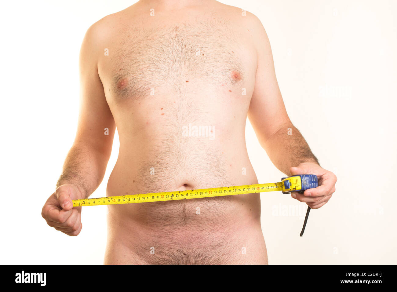 Overweight Man Measuring Belly Stock Photos Overweight Man