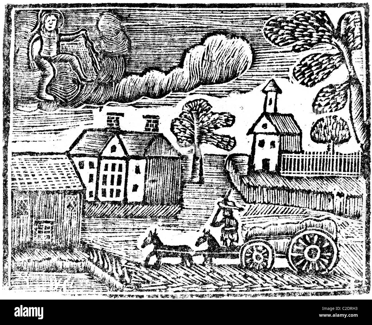 Woodcut from 'A New Guide to the English Tongue' - Stock Image