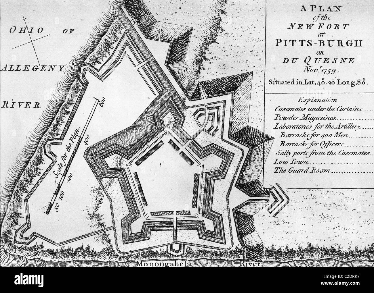 Plan of the new fort at Pittsburgh - Stock Image