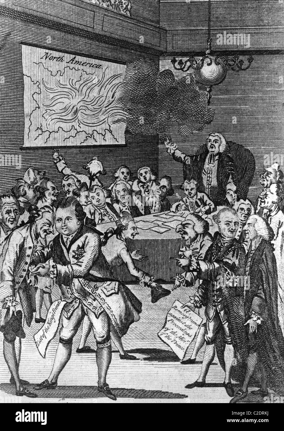 Caricature on the start of the Revolutionary War - Stock Image