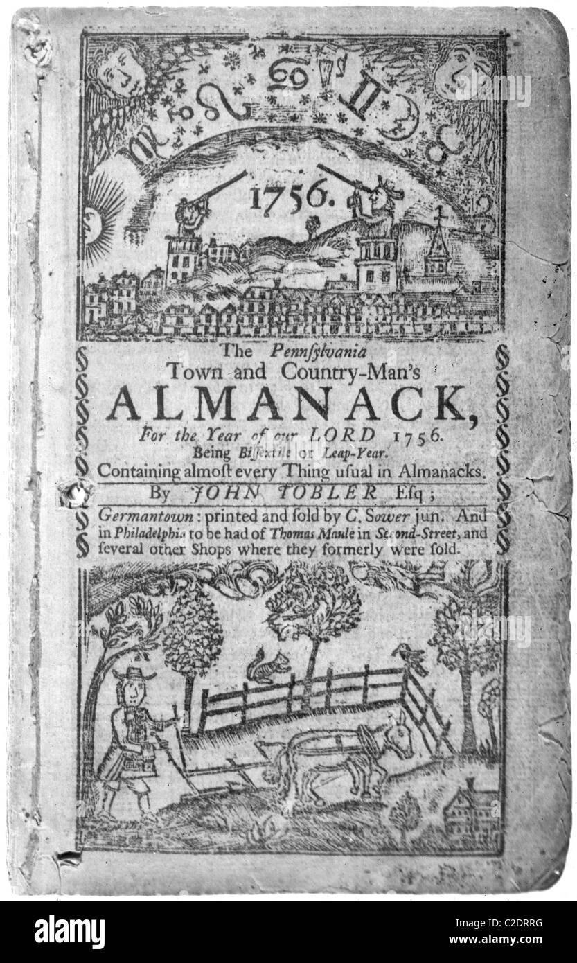 Pennsylvania Town and Country-Man's Almanack, 1756 - Stock Image
