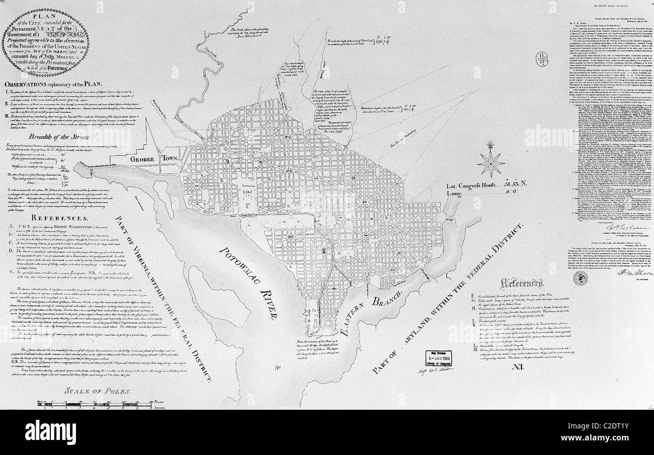 Pierre L'Enfant's plan for Washington, D.C., 1791 - Stock Image