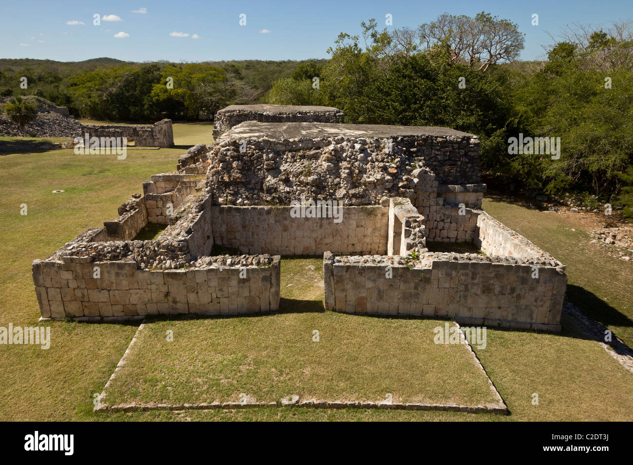 Temple ruins at the Puuc style Maya city ruins of Kabah along the Puuc Route in the Yucatan Peninsula, Mexico. Stock Photo